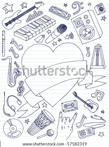 Variety of music related doodles with large heart banner for your text. - stock vector
