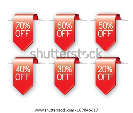 variety of offer labels over white background