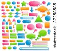 Variety of Stickers and Icons; All of Them Come in 4 Delicious Candy Colors - stock vector