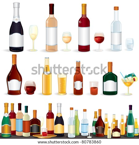 Variety popular alcohol Beverage Bottles from Bar, vector clip art isolated on white.