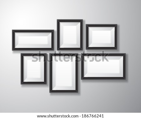 Variety sizes of realistic black picture frames with empty space isolated on white background for presentation and showcasing purposes. - stock vector