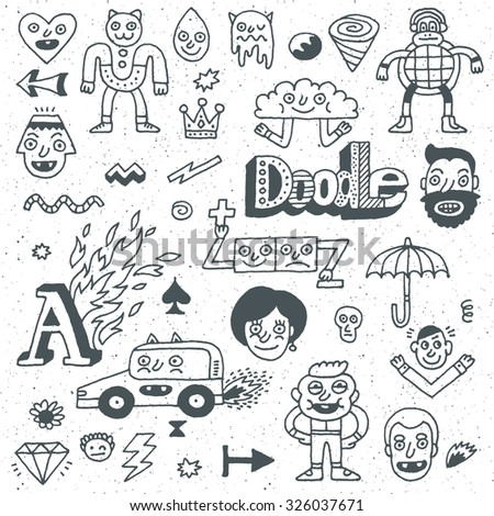 Various Abstract Funny Characters. Wacky Doodle Set 2. Vector Hand Drawn Illustration.  - stock vector