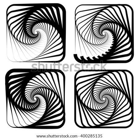 Various abstract spiral, vortex effects. Spiral, vortex effect with concentric shapes blended inwards. 4 different version. - stock vector