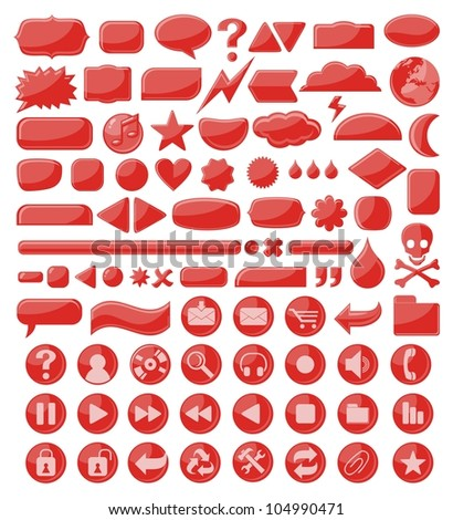 Various abstract web buttons, banners, frames and icons - stock vector