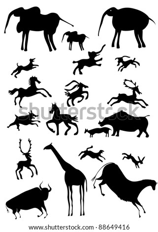 various African animals - stylize - cartoon - stock vector