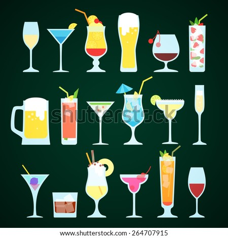 Various alcoholic drinks on a dark background. - stock vector
