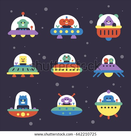 Various aliens and UFO in space vector illustration flat design