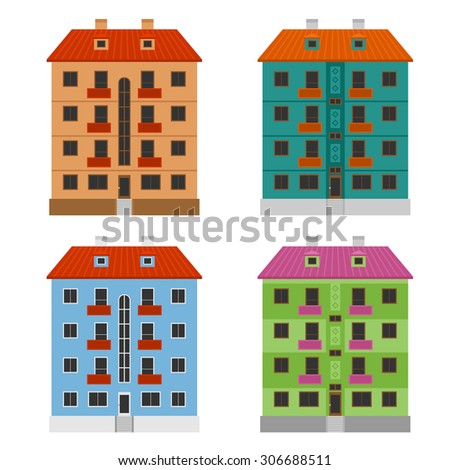 Various apartment houses, four modern vector buildings - stock vector