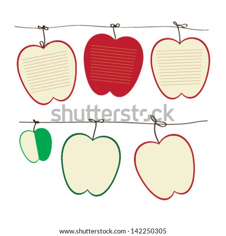 various  apple fruit of note papers - stock vector
