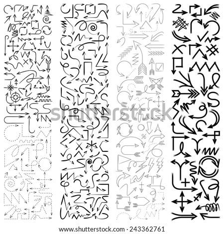 various arrows, big set of hand draw arrows, sketch arrow signs, doodle arrows icons - stock vector