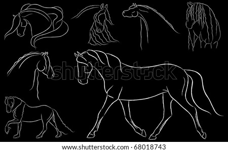 Various Artistic Horse Illustrations on Black Background Vector - stock vector