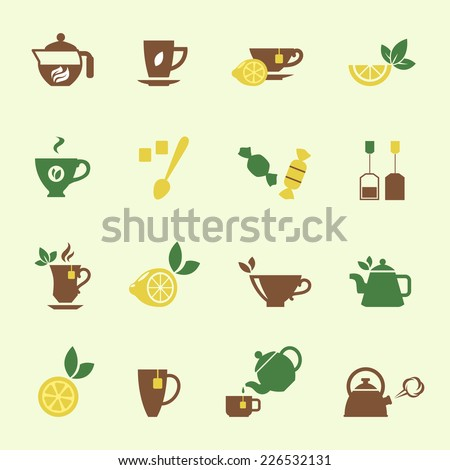 Various Attractive Tea Time Icons Graphic Designs on Off White Background. - stock vector