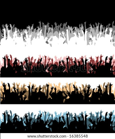 Various audience silhouette - stock vector