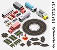 Various Automobiles and Isometric City Map Kit, Trucks, Buses. Isometric Vector Illustration - stock vector