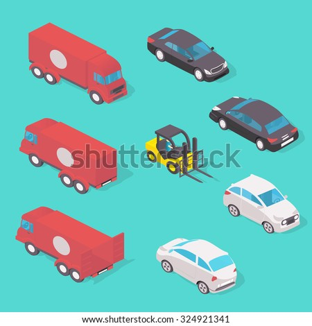 Various Automobiles, Trucks. Isometric Vector Illustration in isometric style. - stock vector