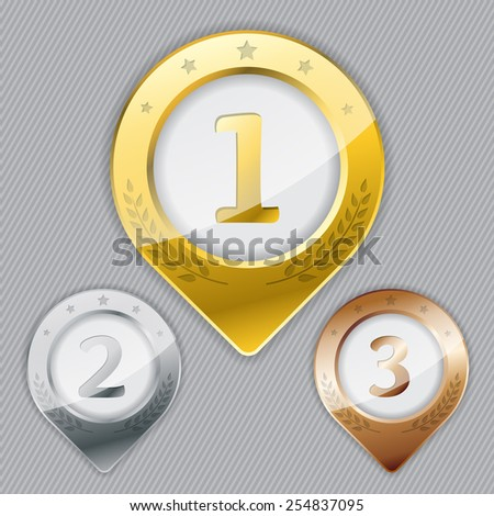 Various awards for winners of places one two three - stock vector
