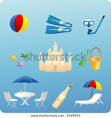 various beach themed objects and elements - stock vector