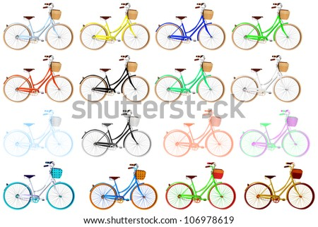 various bicycles - stock vector