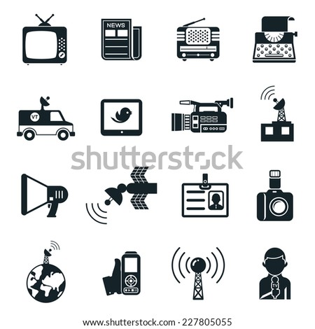 Various Black and White News and Media Icons Graphic Designs on White Background. - stock vector