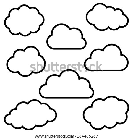 Various black cloud outlines collection on stock vector 184466267 various black cloud outlines collection on white background voltagebd Choice Image