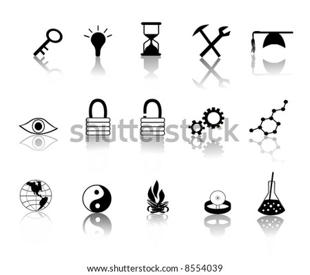 various black over white miscellaneous icons vector illustration