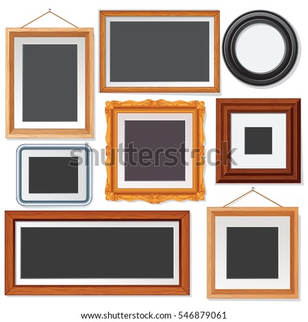 Various Blank Picture and Photo Frames on White Wall. Isolated Vector Set of Objects