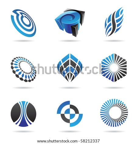 Various blue abstract icons isolated on a white background - stock vector
