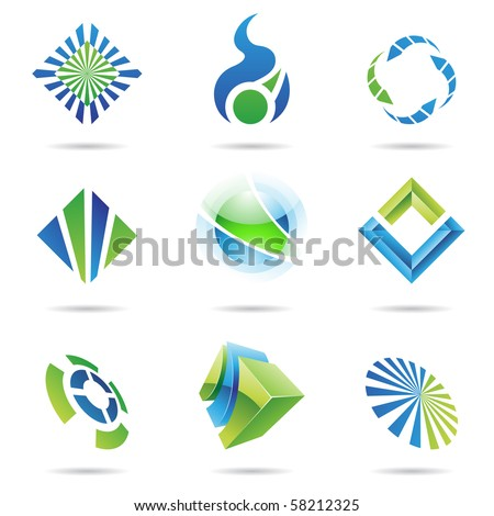 Various blue and green abstract icons isolated on a white background - stock vector