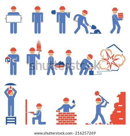 Various Blue and Red Building and Demolition Construction Character Icons - stock vector