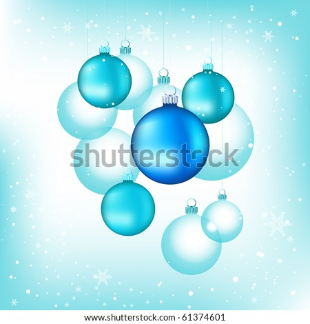 Various Blue Chirstmas glass Baubles background.