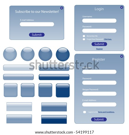 Various blue web forms and buttons. - stock vector