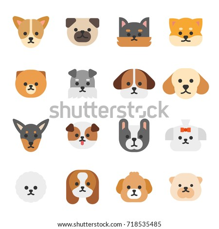 various breed dog face icons vector illustration flat design