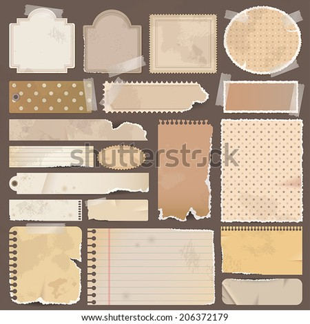 Various brown old remnant pieces of paper, scrapbook badge, and note board background texture and for website button, create by vector