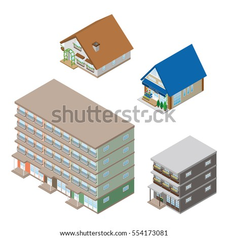 Various building. Solid figure