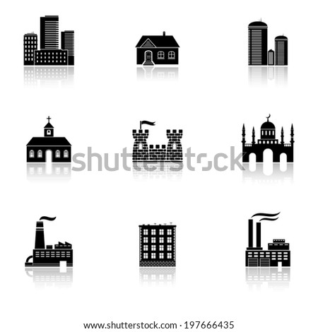 Various buildings icons with reflection - stock vector