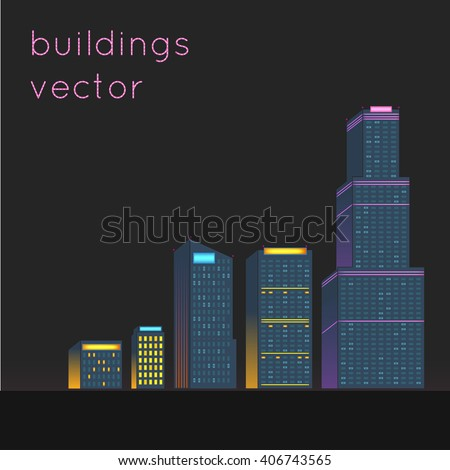Various buildings vector.illustration of a city at night.