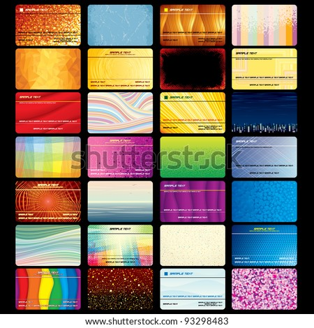 Various Business Card or Credit Card. Blank Textured Vector Templates for your Text and Design