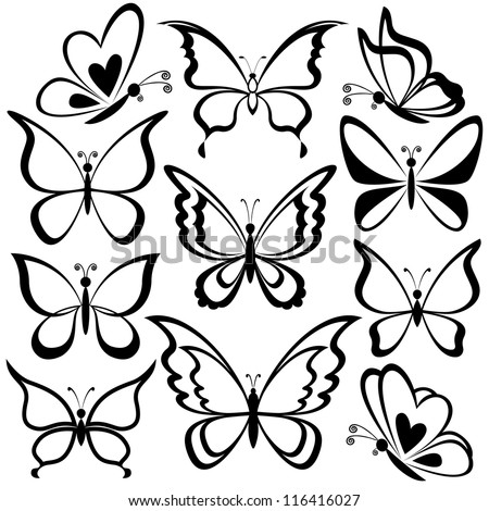 Various butterflies, black contours on white background. Vector