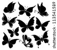Various butterflies, black silhouettes on white background. Vector - stock vector