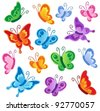 Various butterflies collection 1 - vector illustration. - stock vector