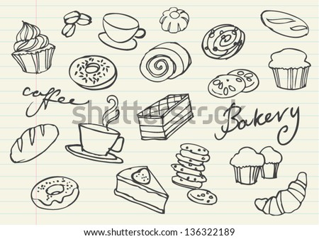 Various cakes & bakery doodle vector set - stock vector