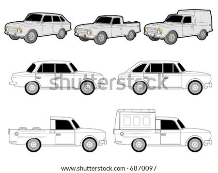 Various car modifications  [for branding] - stock vector