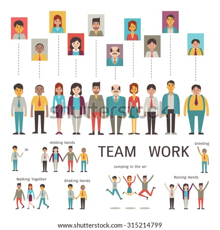Various character of businesspeople in concept of teamwork, partnership, togetherness, company. Multi-ethnic, diverse, male and female. Flat design in simple style. - stock vector