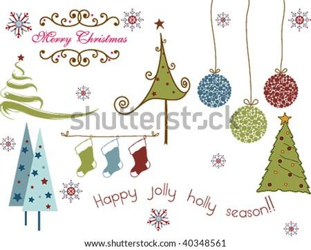Various Christmas design Elements - stock vector