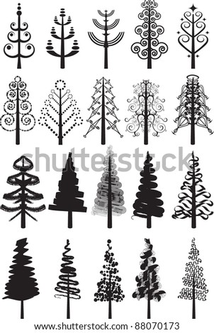 Various Christmas tree designs in black isolated on white - stock vector