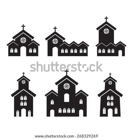 Various church building designs. - stock vector