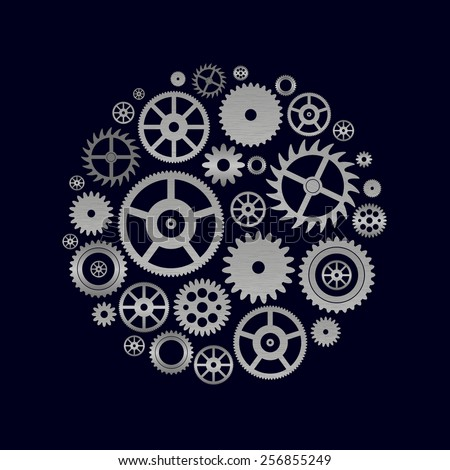 various cogwheels parts of watch movement in circle eps10 - stock vector