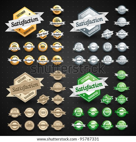 Various Collection of Premium Quality Badges - stock vector