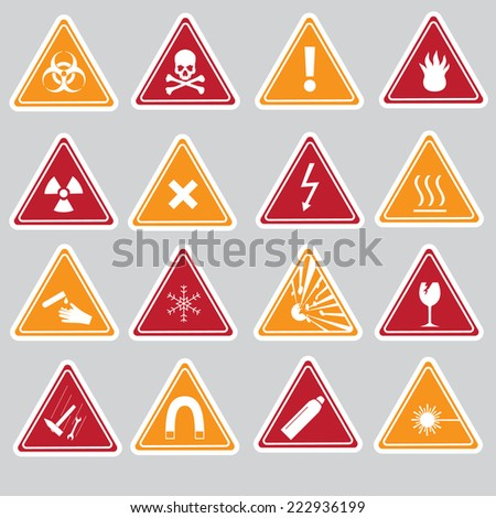 various color danger signs types stickers eps10 - stock vector