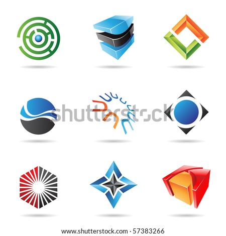 Various colorful abstract icons isolated on a white background